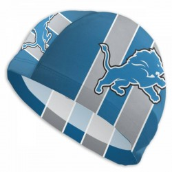 Durable Detroit Lions swim cap #736428 Women Men Adults , Easy to Put On and Off